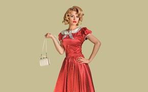 Picture look, girl, pose, retro, background, model, portrait, makeup, hairstyle, blonde, handbag, red dress, polka dot