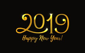 Picture background, gold, New Year, figures, golden, New Year, Happy, sparkle, 2019