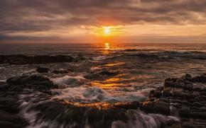 Picture sea, wave, the sky, the sun, clouds, light, sunset, clouds, glare, stones, rocks, shore, coast, …
