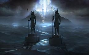 Picture night, horizon, statues