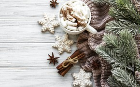 Picture branches, ate, Christmas, Cup, spices, marshmallows