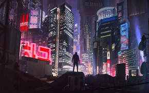 Wallpaper Night, The city, Future, Neon, People, Building, Art, Art, Neon, Cyberpunk, Cyberpunk, by Alexander Dudar, ...