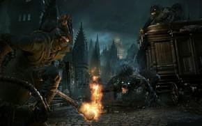 Picture fire, monster, hunter, Bloodborne