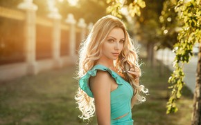 Picture leaves, light, hair, Girl, Blonde, curls, A Diakov George