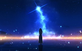 Picture water, girl, night, star