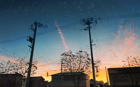 Picture the sky, sunset, home