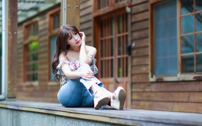 Picture jeans, Asian, sitting