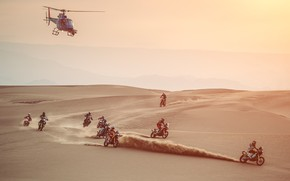 Picture Sand, Sport, Desert, Helicopter, Race, Motorcycle, Moto, Rally, Dakar, Dakar, Rally, Motorcycles