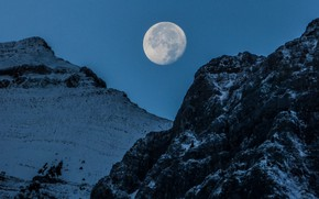 Picture winter, the sky, snow, mountains, nature, rocks, the moon, Canada, Albert, the full moon, Canmore