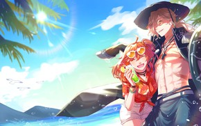 Picture beach, summer, girl, guy, Fate / Grand Order, The destiny of a great campaign