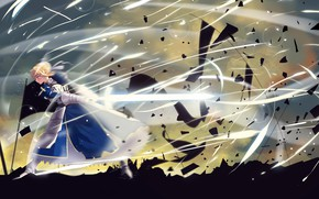 Picture girl, fragments, power, sword, flag, battlefield, the saber, Artoria Pendragon, Fate stay night, Excalibur, Fate …