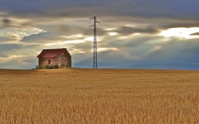 Picture field, house, power lines