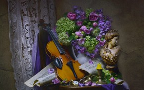 Picture flowers, notes, woman, violin, candle, fabric, pitcher, still life, table, bust, hydrangea, Phlox, Valentina Fencing