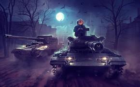 Picture night, the moon, Halloween, Halloween, WoT, World of Tanks, Wargaming, by Sergey Avtushenko