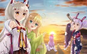 Picture sunset, girls, Ayanami, Laffey, Unicorn, Azur Lane, Manjuu, Albacore