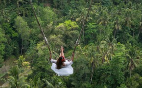 Picture girl, swing, jungle, Bali, Indonesia