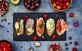 Picture berries, egg, fish, dill, sausage, garnet, avocado, cherry, salmon, bruschetta, sprats