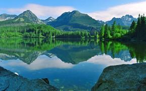 Picture Reflection, Mountains, Lake, Štrbské Pleso