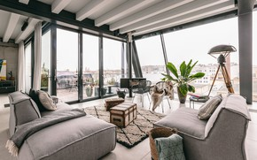 Picture interior, balcony, fireplace, living room, Penthouse in Berlin