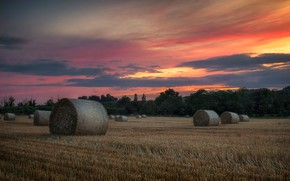 Picture field, clouds, sunset, hay, bales, bales