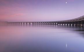 Picture sunset, bridge, shore