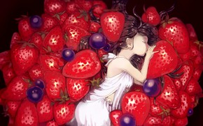 Picture blueberries, strawberry, sleeping, girl, white dress, a lot