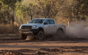 Picture white, Ford, dust, Raptor, pickup, 2018, the ground, Ranger
