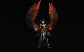 Picture Girl, Fantasy, Fire, Art, Style, Magic, Background, Minimalism, Wings