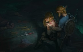 Picture two, wound, Fan Art, Link, Zelda, The Legend of Zelda: Breath of the Wild