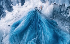 Picture winter, girl, snow, pose, blue, hat, sleep, ice, ice, icicles, dress, sleeping, lies, cave, Princess, …