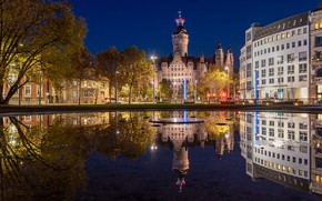 Picture the sky, water, trees, night, lights, pond, reflection, home, Germany, lights, Leipzig