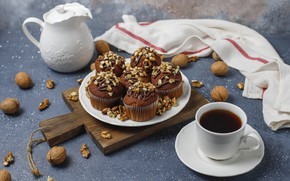 Picture coffee, nuts, cream, chocolate, cupcakes