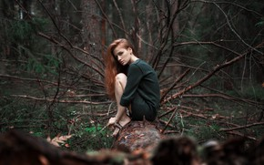 Picture forest, girl, dress, Alexander Kurennoy