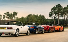 Picture Mazda, column, MX-5, roadsters, four generations (NA-NB-NC-ND)
