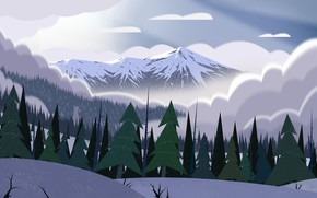 Picture Winter, Mountains, Fog, Snow, Landscape, Art, Tree, Trees, Cartoon, Environment, by Andrey Syailev, Andrey Syailev, …