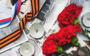 Picture flowers, photo, holiday, candles, victory day, St. George ribbon, May 9, carnation