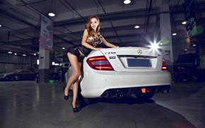 Picture look, Girls, Mercedes, Asian, beautiful girl, white car, posing on the car