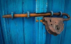 Picture castle, the door, old, rust, HASP