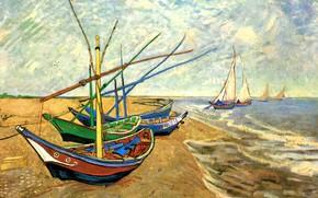 Picture brick, boats, pier, sails, Vincent van Gogh, Fishing Boats, at Saintes-Maries, the shore, on the ...