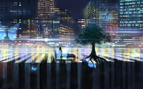Picture girl, butterfly, night, the city, tree, bed, sitting