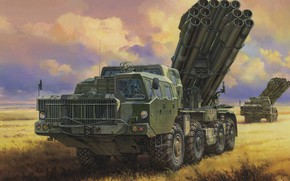 Picture Tornado, MLRS, 9K58, caliber 300 mm, Russian jet system of volley fire