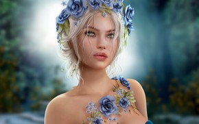 Picture girl, blue, blonde, a wreath of roses