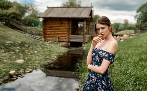 Picture girl, house, grass, dress, brown hair, photo, photographer, model, bokeh, lips, face, brunette, stream, portrait, …
