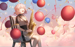 Picture girl, balls, musical instrument