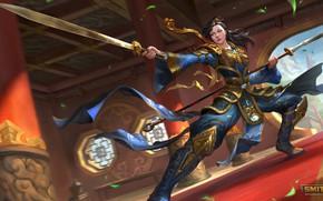 Picture girl, swords, stand, Mulan, Mulan, Smite