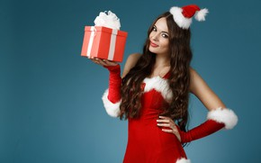 Picture pose, smile, background, mood, holiday, box, gift, makeup, figure, dress, Christmas, hairstyle, outfit, New year, ...