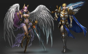 Picture Girl, Fantasy, Art, Style, Warrior, Angel, Background, Minimalism, Man, Wings, Swords, Character, Rena Illusion