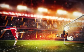 Picture field, fire, lawn, football, sport, the game, shorts, the ball, speed, the situation, blow, gloves, …