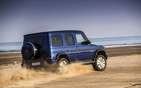 Picture blue, movement, shore, Mercedes-Benz, SUV, 4x4, 2018, G-Class, G 500, V8