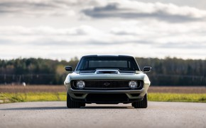 Picture Road, Chevrolet, 1969, Camaro, Lights, Chevrolet Camaro, Muscle car, Classic car, Wide Body Kit, Sports …